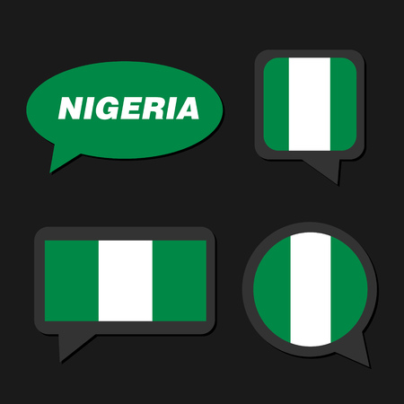 Set of Nigeria flag in dialogue bubble