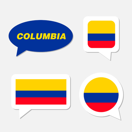 Set of Columbia flag in dialogue bubble