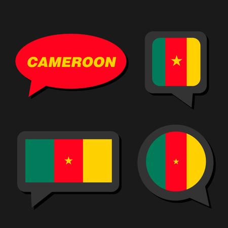 Set of Cameroon flag in dialogue bubble Ilustração