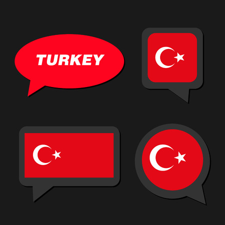 Set of Turkey flag in dialogue bubble