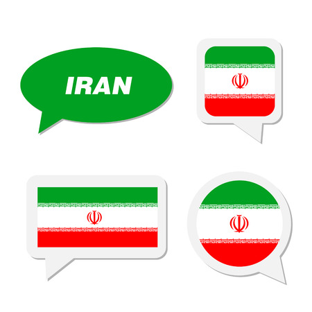 対話バブルにおけるイラン旗のセット  イラスト・ベクター素材