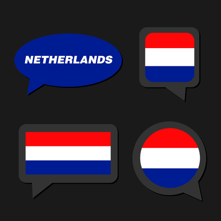 Set of Netherlands flag in dialogue bubble Stock Illustratie