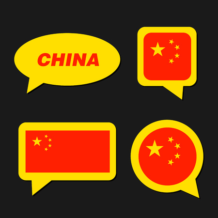 Set of China flag in dialogue bubble. 向量圖像