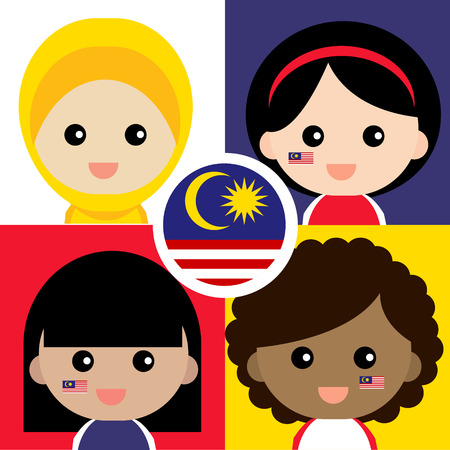 Set of cute and cheerful Malaysian supporter.  イラスト・ベクター素材