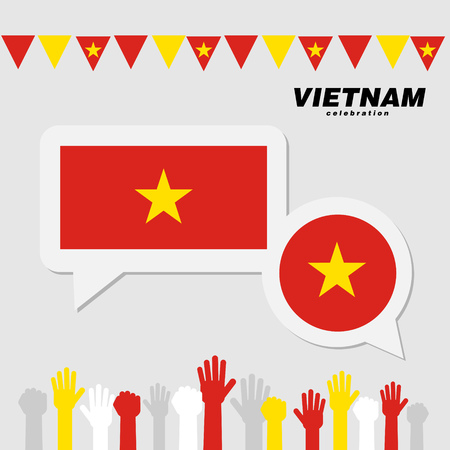 National celebration with Vietnam flag decoration