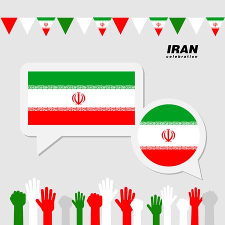 イラン国旗の装飾と国民のお祝い