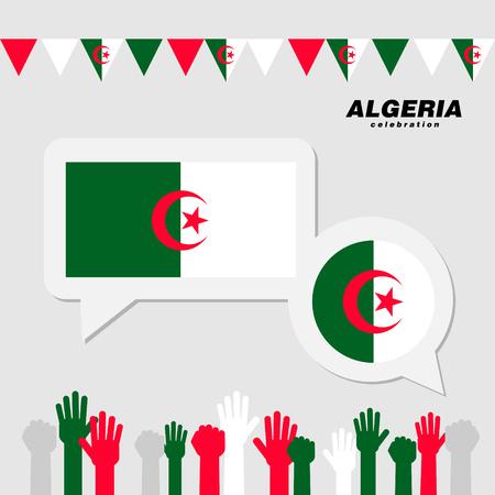 National celebration with Algeria flag decoration