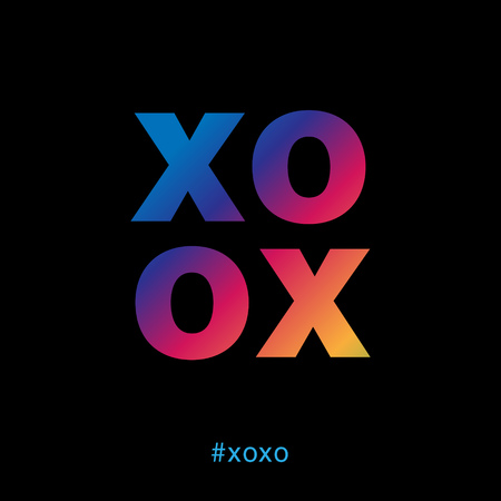 Modern and colorful xoxo typography