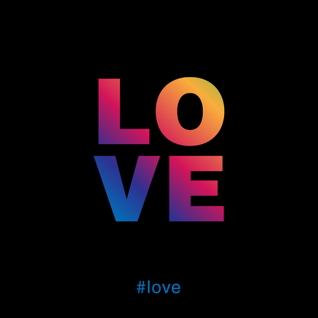 Modern and colorful love typography