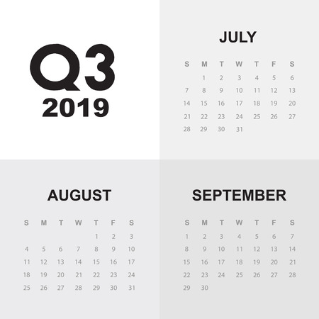 Third quarter of calendar 2019 Иллюстрация