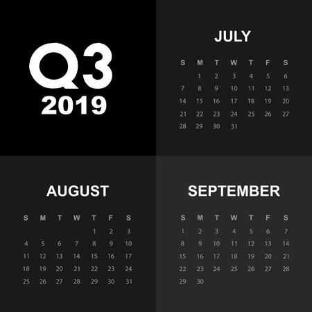 Third quarter of calendar 2019 일러스트