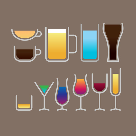 Set of simple beverage glass icon