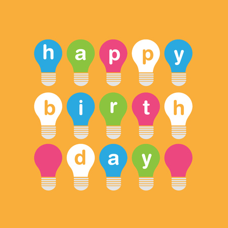 Creative birthday card design with colorful bulbs