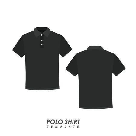 Camisa polo negra sobre fondo aislado