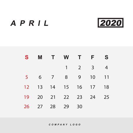 Simple design of April 2020 calendar template Иллюстрация