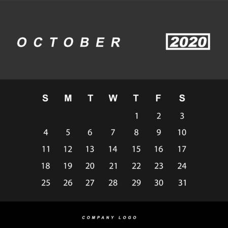 Simple design of October 2020 calendar template