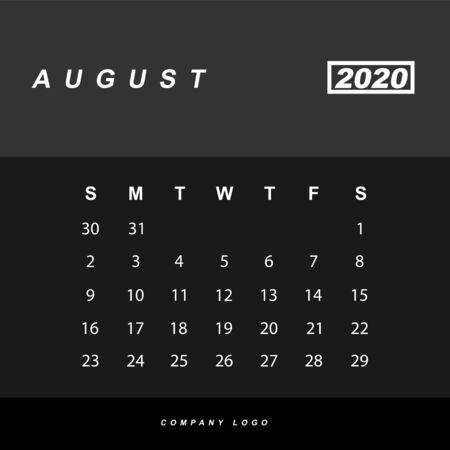 Simple design of August 2020 calendar template Иллюстрация