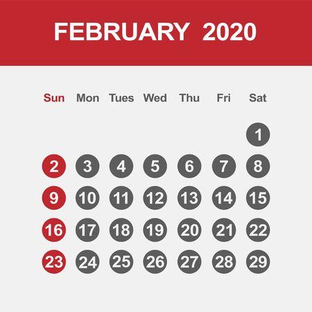 Simple design of February 2020 calendar template