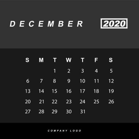 Simple design of December 2020 calendar template Иллюстрация