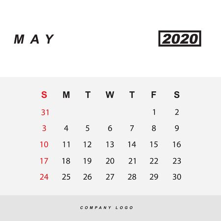Simple design of May 2020 calendar template