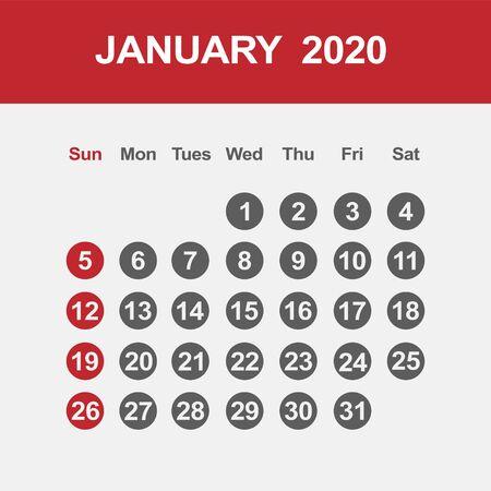 Simple design of January 2020 calendar template