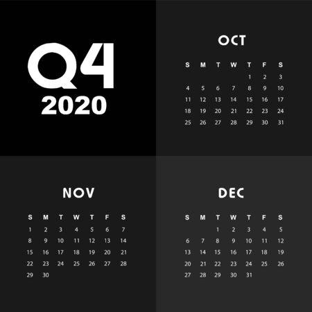 Modèle de calendrier abstrait et moderne de 2020