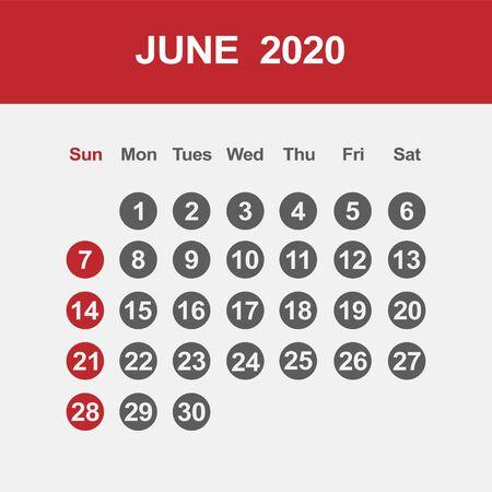 Simple design of June 2020 calendar template