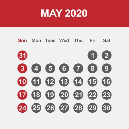 Simple design of May 2020 calendar template