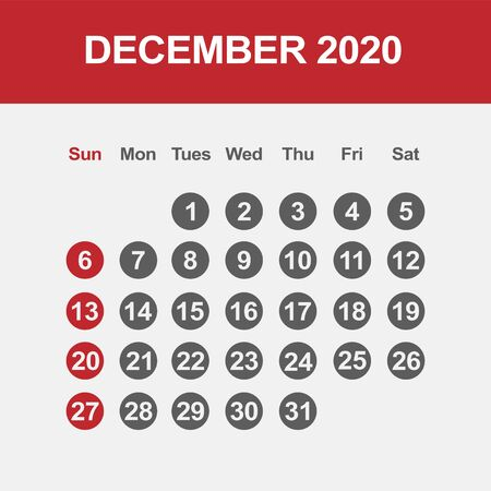 Simple design of December 2020 calendar template Фото со стока - 129915036