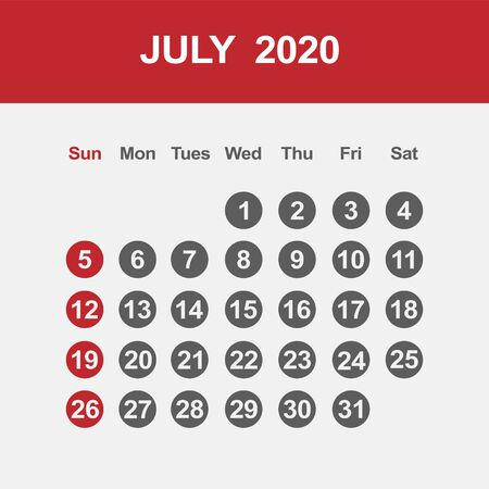 Simple design of July 2020 calendar template