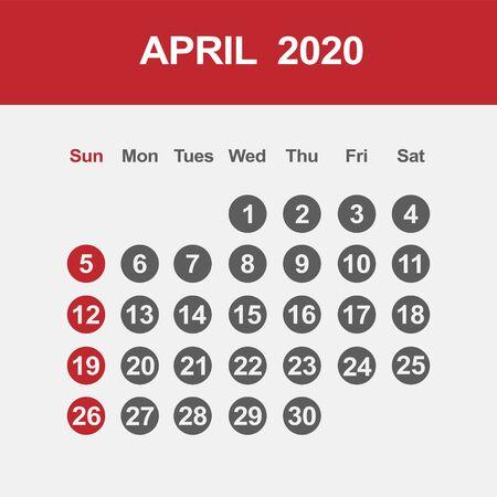Simple design of April 2020 calendar template Фото со стока - 129915038