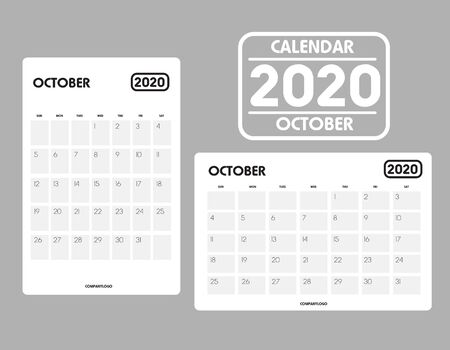 Simple design of October 2020 calendar template