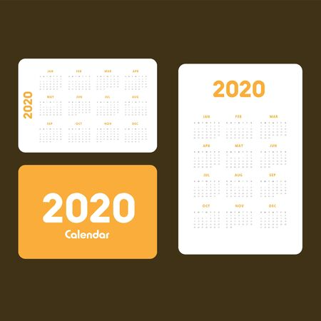 Abstract and modern calendar template of 2020 Фото со стока - 129915043