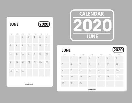 Simple design of June 2020 calendar template Фото со стока - 129915104