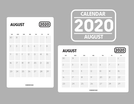 Simple design of August 2020 calendar template Иллюстрация