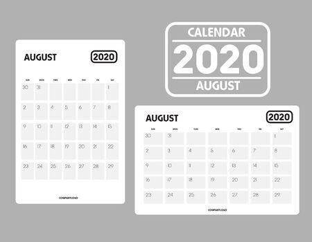 Simple design of August 2020 calendar template Ilustrace