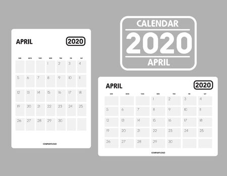 Simple design of April 2020 calendar template Иллюстрация