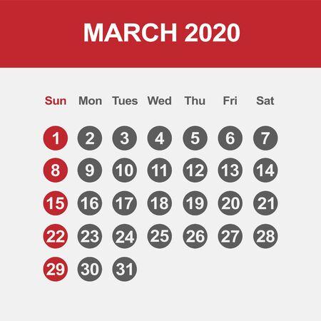 Simple design of March 2020 calendar template Фото со стока - 129915109