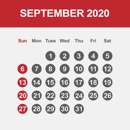 Simple design of September 2020 calendar template
