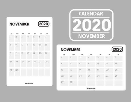 Simple design of November 2020 calendar template Фото со стока - 129915115