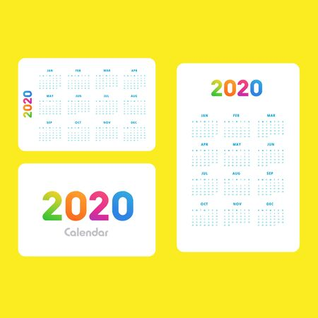 Abstract and modern calendar template of 2020 Фото со стока - 129915120