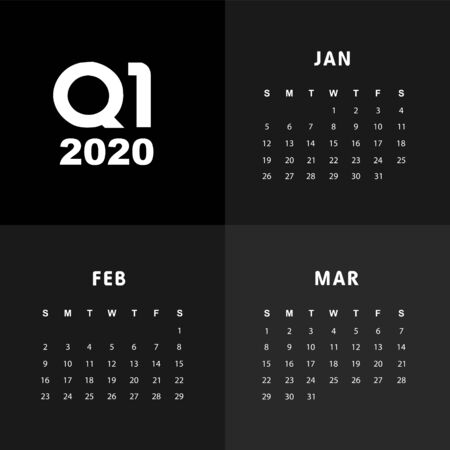 Abstract and modern calendar template of 2020