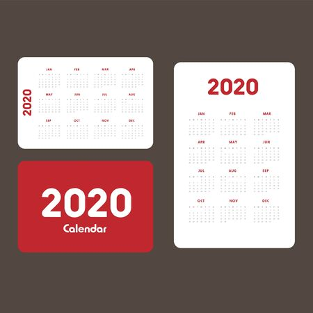 Abstract and modern calendar template of 2020 Фото со стока - 129915129