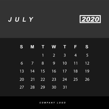 Simple design of July 2020 calendar template