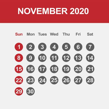 Simple design of November 2020 calendar template