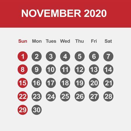Simple design of November 2020 calendar template Фото со стока - 129915156