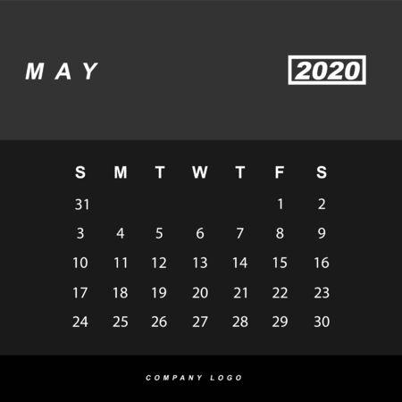 Simple design of May 2020 calendar template Фото со стока - 129915158