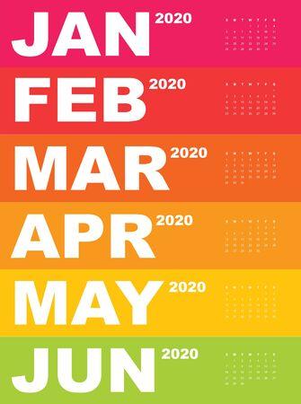 Abstract and modern calendar template of 2020 Фото со стока - 129915159