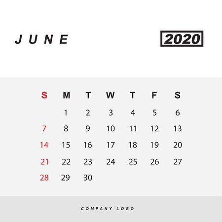 Simple design of June 2020 calendar template