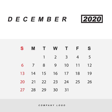Simple design of December 2020 calendar template Фото со стока - 129915174